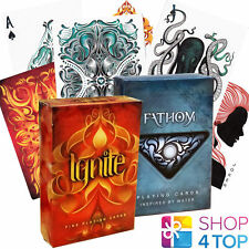 2 DECKS BICYCLE ELLUSIONIST 1 IGNITE AND 1 FATHOM PLAYING CARDS FIRE WATER NEW