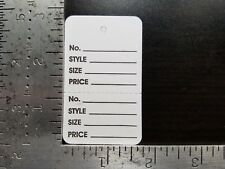White Garment Tags Perforated 2 Part Unstrung Merchandise Price Coupon Large