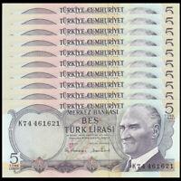 Lot 10 PCS, Turkey 5 Lira, 1976, P-185, banknote, UNC