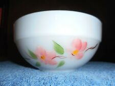 FIRE KING BOWL HANDPAINTED APPLE BLOSSUM VINTAGE GAY FAD MILK GLASS MIXING BOWL