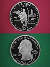Silver 2003-S Illinois Proof Deep Cameo State Quarter Flat Rate Shipping