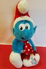 "Macy's Exclusive 2010 PEYO the Smurf Plush Santa w/Hat-Scarf 21"" Stuffed Animal"