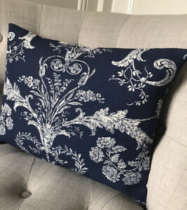 "12x16""  Laura Ashley cushion cover Josette Midnight & Austen Off White reverse"