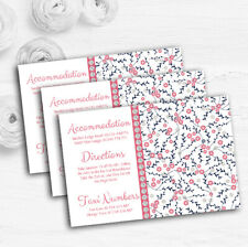 Dusty Coral Pink And Navy Blue Floral Wedding Guest Information Cards