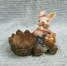 1990s Springy Head Girl Rabbit w Basket Hand Painted Sand Cast Figurine Free Sh