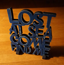 Lost At Sea Come Find Me Nautical Blue Cut Words Beach Shelf Home Decor Sign New