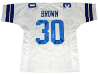 DALLAS COWBOYS ANTHONY BROWN SIGNED AUTOGRAPHED #30 WHITE JERSEY COA