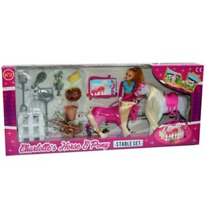 Pony & Horse Doll PLAY SET Little Play Toy Girls Toy Gift Princess Stable Fence