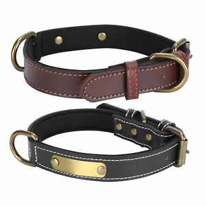 Soft Leather Dog Puppy Collar Adjustable Lead Choker Pet Decor Size XS-XL Supply