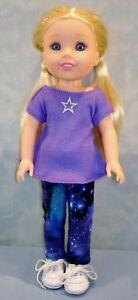 "14""  Doll Clothes Lavender Top w/ Star Applique, Galaxy Leggings by Jane Ellen"