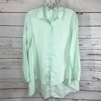 Eileen Fisher womens long sleeve button front linen high low blouse size small