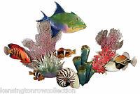 "WALL ART - ""BENEATH THE DEEP BLUE SEA"" METAL WALL SCULPTURE - TROPICAL FISH"