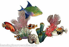 "WALL ART - ""BENEATH THE DEEP BLUE SEA"" METAL WALL SCULPTURE - TROPICAL FISH"