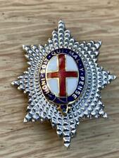More details for fine 9 carat white gold & enamel coldstream guards regimental badge.