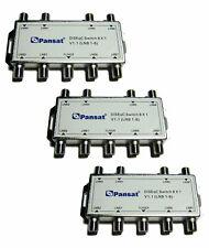 3 PCS DISEQC 8X1 MULTI-SWITCH FTA Cascadable Stackable Connect 8 Sats PANSAT