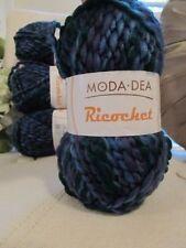 New 4 Skeins Moda Dea Yarn Ricochet JAZZ Acrylic Blend Bulky Blues Purples Green