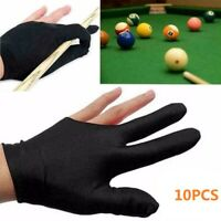 10PCS 3 Fingers Billiard Cue Pool Gloves Snooker Left Hand Nylon Accessories US