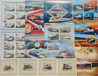 MODERN TRAINS (Diesel, High Speed) 100 diff. sheets MNH Sale Lot FREE SHIP #SL08