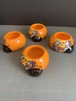 "4) Vintage Rocket Farms ""Love Bugs"" Orange Lady Bug Ceramic Planter Trinket Dish"