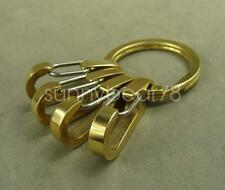 Solid Brass Keychain Gold Key ring holder with four 33mm snap spring hooks