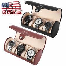 3Slot Watch Case PU Leather Roll Box Collector Organizer Jewelry Storage Display
