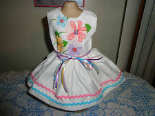 doll clothes dress for 18 inch american girl flower pastel rick rack white 168