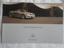 Mercedes SLK Class Roadster price list brochure Oct 2004