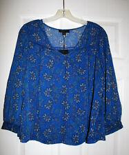 Dalia Womens M Royal Blue Floral Print Smocked Chiffon Blouse Top Shirt NWT