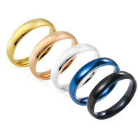 4mm Stainless Steel Polished Band Ring Wedding Engagement Party Jewelry Size 7-9