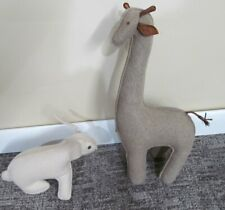 Pair RESTORATION HARDWARE Wool Felt Bunny & Giraffe Bookends RH Baby & Child