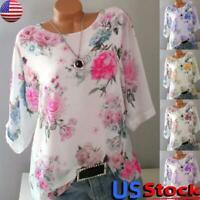 Women Boho Floral 3/4 Long Sleeve T Shirts Blouse Top Casual Tunic Shirt S-5XL