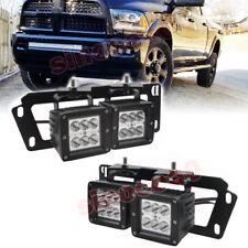 For 09-18 Dodge Ram 1500/2500/3500 4X 24W LED Fog light Pod+Bumper Mount Bracket