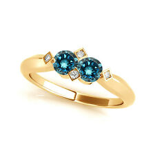 1.012 Cts Blue VS2-SI1 2 Stone Diamond Solitaire Engagement Ring 14k Yellow Gold