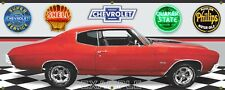 1970 Chevrolet Chevelle SS Red/Black, Garage Scene 13oz. Vinyl Banner.Two sizes