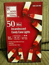 Home Accents Holiday 50 Red/White Candy Cane Mini Lights Black Wire