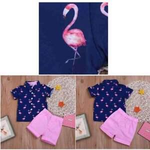 Boys Summer Short Sleeve Outfits Kids Flamingo Printed Shirts+Shorts Set Costume