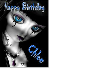 Emo Girl A5 Birthday Card  Personalised