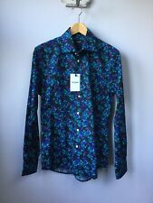"""BNWT Men's Duchamp Black & Turquoise Floral Shirt, Collar Size 15 1/2"""", Tagged"""