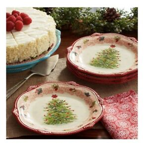 """Pioneer Woman Cheerful Lace Red Christmas Holiday 8.5"""" Salad Dessert Plates NEW"""