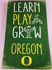 Oregon Ducks Canvas Sign Large 14 x 23 Learn Play Grow Kids Fan Collectible Art