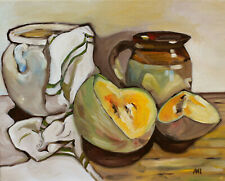 Original Painting Oil on Canvas panel Still Life with Melon