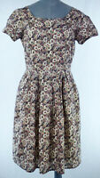 GAP Fit & Flare Watercolour Print Dress Abstract Floral Cotton Day Dress UK 10