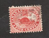 #15 - Canada - 1859 -  5 Cent beaver stamp - Used - VG/F - superfleas