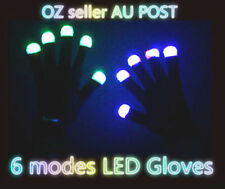 Pair Rainbow Flow LED Light Black Gloves Rave Party Glow Games Night fun 6  modes ccc422435