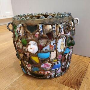Victorian Era Memory Jug Crock Barrel Spirit Jar Folk Art Vase Circa 1900 Salem