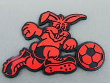 3D Aufkleber Fußball Hase rot schwarz Kaninchen Klebeschild