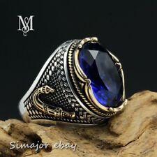 Rare Dagger MEN RING 925 STERLING SILVER LAB BLUE SAPPHIRE design islamic
