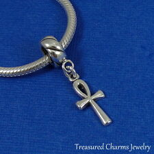 .925 Sterling Silver ANKH Dangle Bead CHARM fits EUROPEAN Bracelet *NEW*