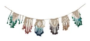 Macramé Dip Dye Garland in Multi Colored Ombre Boho Decor