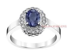 Natural Sapphire Diamond Ring 1.51ct Blue 14k White Gold